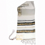 Traditional Wool Tallit with Decorative Ribbon Style # 1