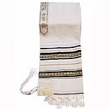 Traditional Wool Tallit with Decorative Ribbon Style # 10 / Paisley Design on Black and Gold Stripes