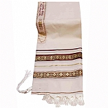 Traditional Wool Tallit with Decorative Maroon and Gold Ribbons Style # 4
