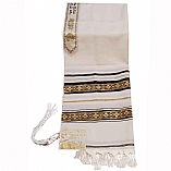 Traditional Wool Tallit with Decorative Black and Gold Ribbons Style # 4