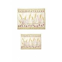 Embroidered Sheaves of Wheat on White Background Tallit / Tefillin Bag