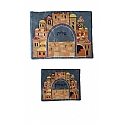 Embroidered Jerusalem Panorama on Blue Background Tallit / Tefillin Bag