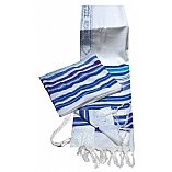 Bnei Or Multi Color Blue Tallit and Matching Tallit Bag