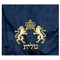 Lions and Crown in Gold Threading Velvet Tallit / Tefillin Bag