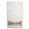 Netilas Yadayim Jerusalem View Multi Colors Embroidered White Hand Towel