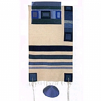 Blue Silk Tallit with Stripes