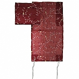 Embroidered Organza Tallit Set Floral Design in Maroon