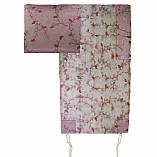 Embroidered Organza Tallit Set Floral Design in Pink