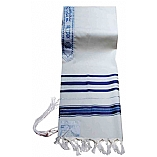Traditional Lurex Wool Tallit in Blue and Silver Stripes