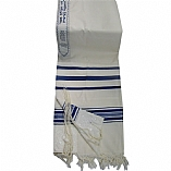 Traditional Wool Tallit in Blue and White Stripes