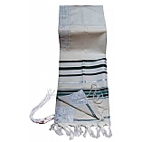 Traditional Lurex Wool Tallit in Green and Silver Stripes