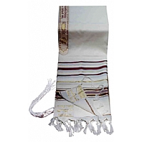 Traditional Lurex Wool Tallit in Maroon and Gold Stripes