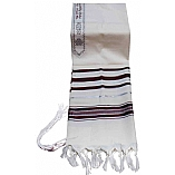 Traditional Lurex Wool Tallit in Maroon and Silver Stripes