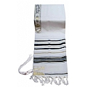 Traditional Lurex Wool Tallit in Black and Gold Stripes