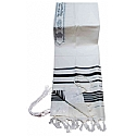 Traditional Lurex Wool Tallit in Black and Silver Stripes
