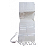 Traditional Wool Tallit in White and White Stripes