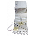 Traditional Lurex Wool Tallit in White and Gold Stripes