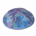 Silk Painted Kippah / Tribes Blue