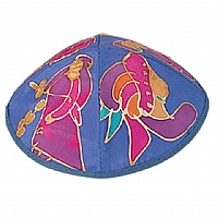 Silk Painted Kippah / Figures Blue