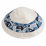 Machine Embroidered Kippah / Geometrical Pieces Blue
