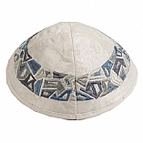 Machine Embroidered Kippah / Geometrical Pieces Grey