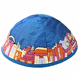 Machine Embroidered Kippah / Jerusalem Blue