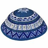 Machine Embroidered Kippah / Geometrical Blue