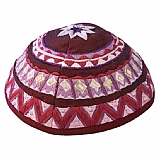Machine Embroidered Kippah / Geometrical Magenta