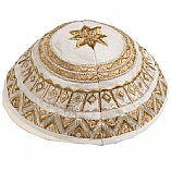 Machine Embroidered Kippah / Geometrical White Gold