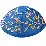 Machine Embroidered Kippah / Flowers Blue