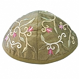 Machine Embroidered Kippah / Flowers Gold