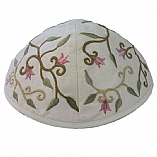 Machine Embroidered Kippah / Flowers White