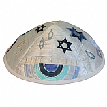 Machine Embroidered Kippah / Menorah Blue