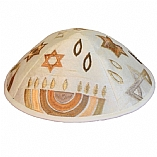 Machine Embroidered Kippah / Menorah Gold