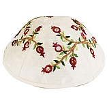 Machine Embroidered Kippah / Pomegranates Burgundy