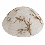 Machine Embroidered Kippah / Tree of Life Gold