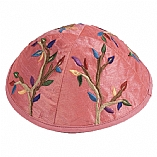 Machine Embroidered Kippah / Tree of Life Pink
