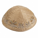 Machine Embroidered Kippah / Floral Gold