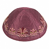 Machine Embroidered Kippah / Floral Maroon