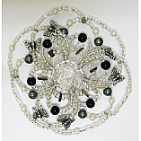 Woman's Elegant Beaded Wire Kippah in Onyx and Silver Design