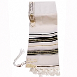 Traditional Wool Tallit with Decorative Ribbon Style # 18